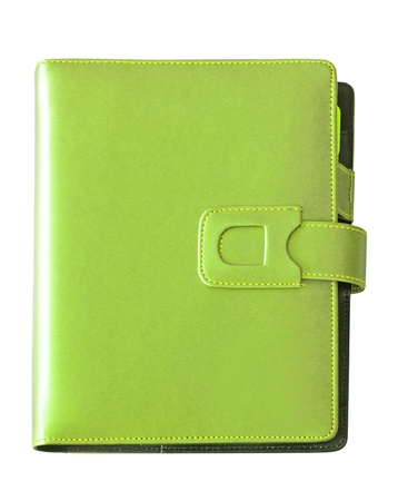 Leather green cover notebook isolated on white background photo