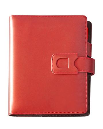 Leder rot Abdeckung Notebook isoliert auf weißem Hintergrund