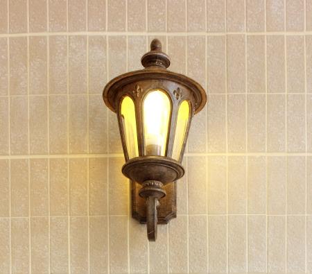 Vintage street lamp on brick wall  Stock Photo - 18714356