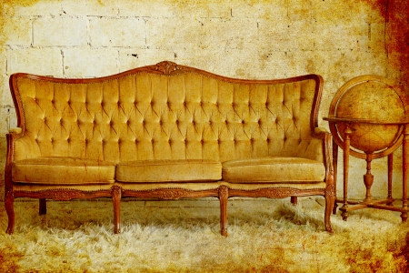 Vintage furniture sofa with old globe, photo in old image style photo