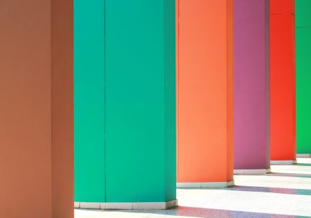 Colorful hallway with light and shadow photo