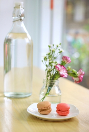 Sweet macaron with flower  photo