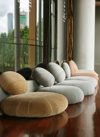 Cushion seat in quiet interior room for meditation Stock Photo - 20878370