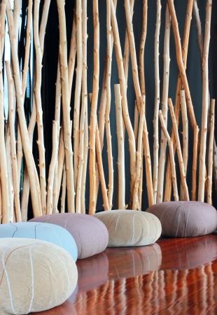 meditation room: Cushion seat in quiet interior room for meditation Editorial