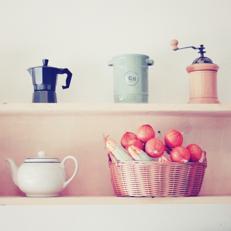 Tea and coffee equipment in kitchen with retro filter effect Stock fotó