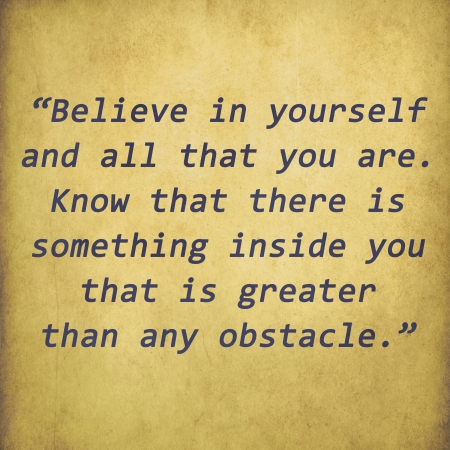 believe: Inspirational quote word by Christian D  Larson on old paper background