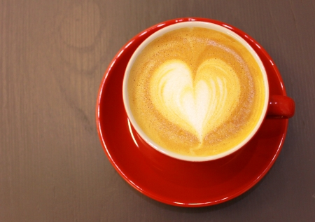 latte: Cappuccino or latte coffee with heart shape
