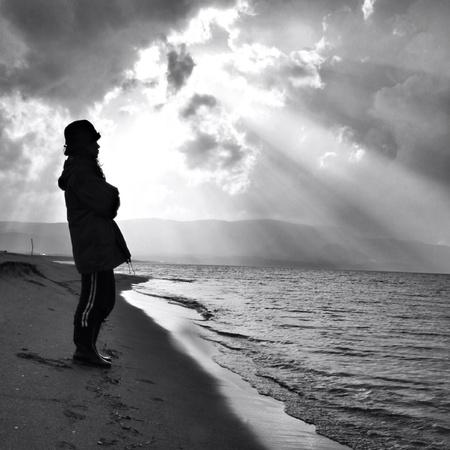 man: Alone in the beach