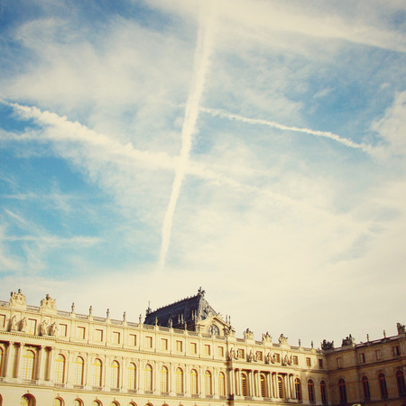 Chateau de Versailles and sky with Retro Filter Effect