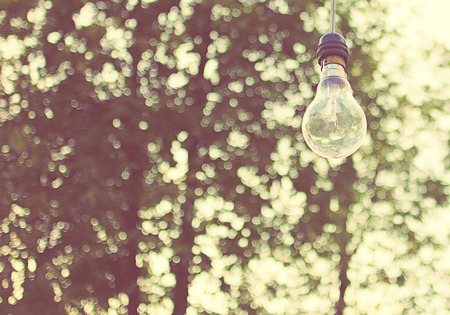 outdoor electricity: Lighting decor for outdoor party with retro filter effect Stock Photo
