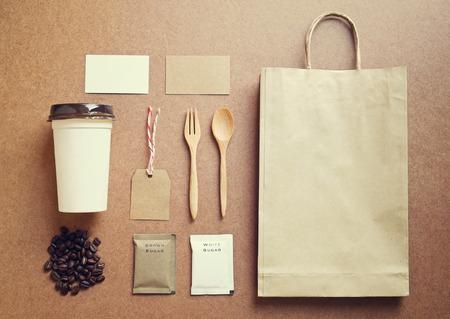 Makieta tożsamości Kawa ustawić z retro efekt filtra