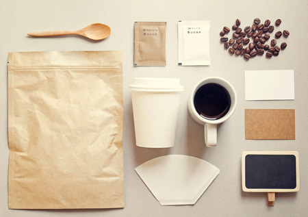 Coffee identity branding mockup set with retro filter effect