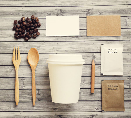 identities: Coffee identity mockup set with retro filter effect Stock Photo