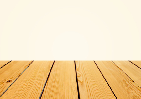 product placement: Empty wooden table top for product placement with white background