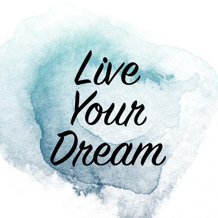 Inspirerende motiverende citaat op aquarel penseel achtergrond Stockfoto