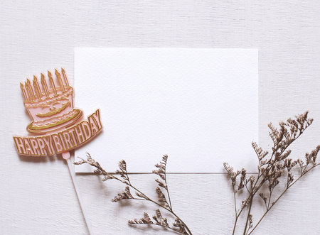 blank tag: Happy birthday tag and blank postcard with flower Stock Photo