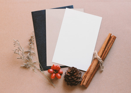 flores secas: tarjeta de felicitación en blanco maqueta con artesanía y decoraciones de navidad