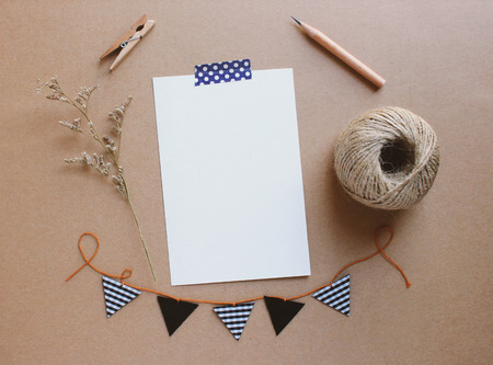 greeting card: Blank greeting card and cute stationery for creative work design Stock Photo