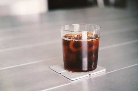 Iced coffee or cold brew coffee in a glass