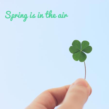 spring leaf: Inspirational motivation word about spring on hand holding clover leaf on sky, pastel style