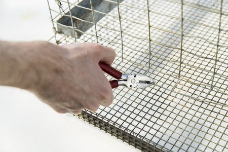 gabion: Close up shot of hands with plier while bend edge of metal cage Stock Photo