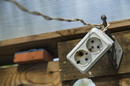 receptacle: Different tools outdoor electric power receptacle, wire