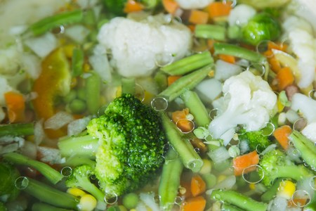 stew pan: Delicious vegetables stew in pan in kitchen