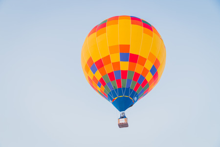 Colorful hot air ballon on the air Stock Photo