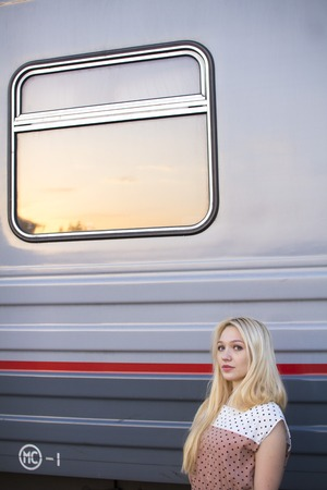 girl waiting for the train Stock Photo