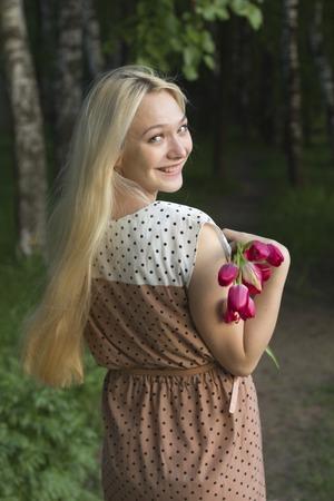 girl happy bouquet