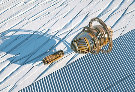 2 space ships dock on an icy background. 3d illustration Stock Photo