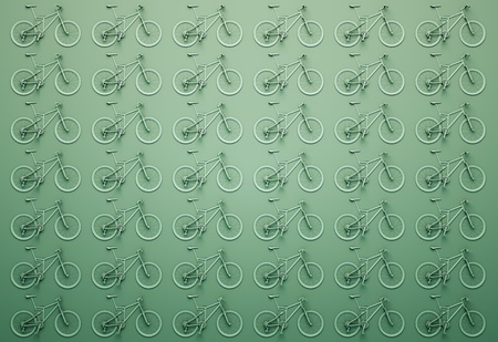wall of green bicycles. 3d illustration Stock Photo