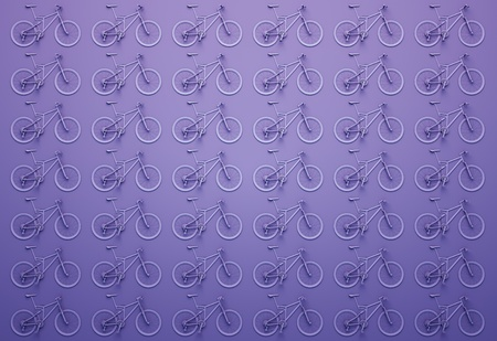 wall of purple bicycles. 3d illustration
