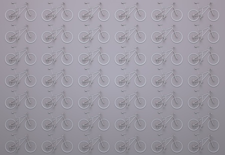 wall of pink bicycles. 3d illustration