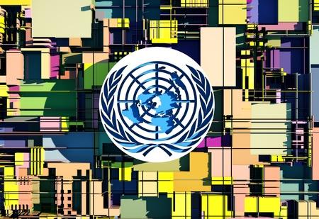 an intergovernmental organization to promote international co-operation, on the stylized city