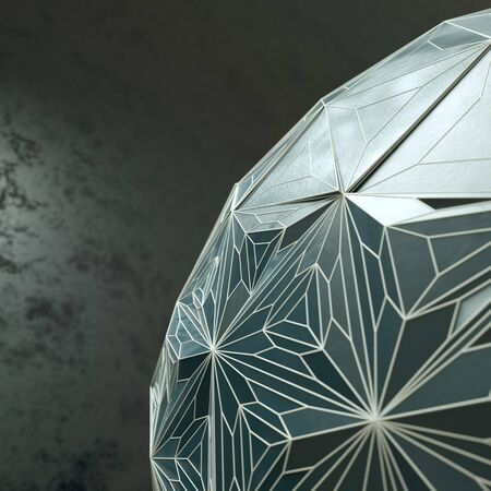 Abstract blue background 3d Illuminated distorted Mesh Sphere Stock Photo