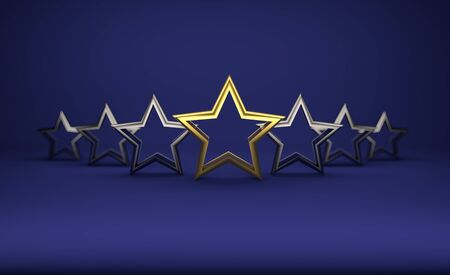 5 stars on dark blue background