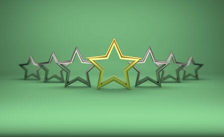 5 stars on green background