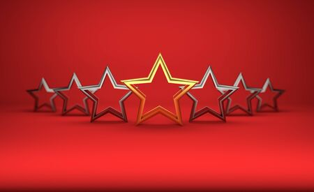 5 stars on red background