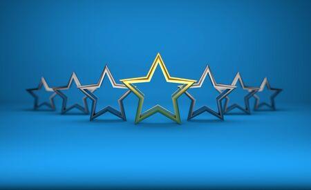 5 stars on blue background Stock Photo