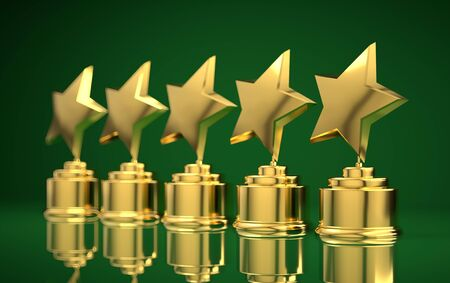 Five golden rating star in green background.