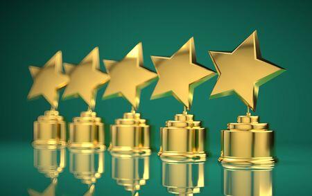 Five golden rating star in light green background.