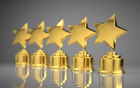 Five golden rating star in white background.