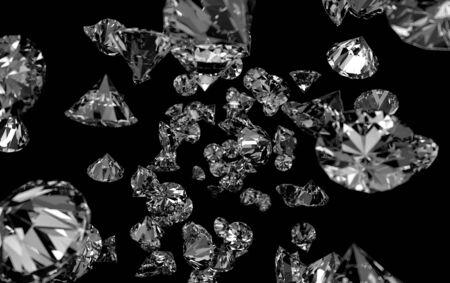 Falling Gems black Background. Diamond.