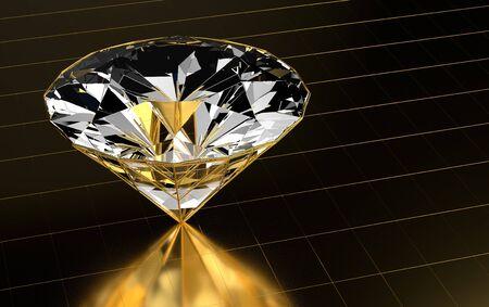 Diamond close-up in gold Stock Photo