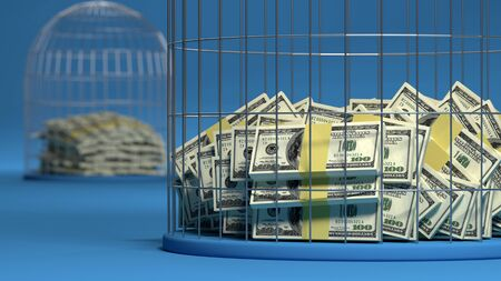 Money behind bars in prison. The concept of crime associated with money Stock Photo