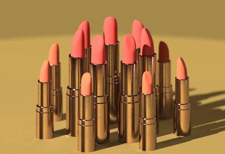 colorful lipsticks on pastel background.