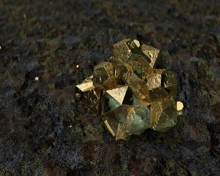 Crystal Stone macro, 3d rendering abstraction