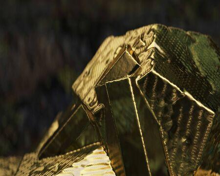 Crystal Stone macro, gold rough quartz crystals 3d illustration Stock Photo