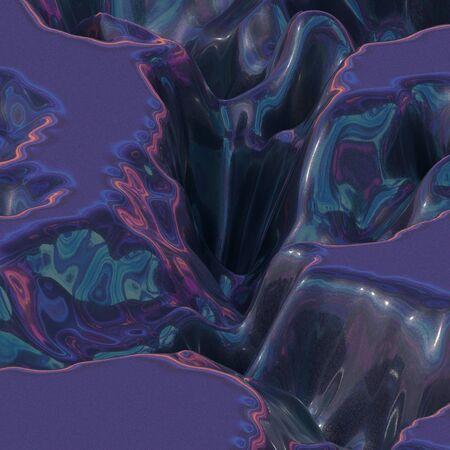 illustration pink blue light cosmic landscape. 3d rendering Stock Photo